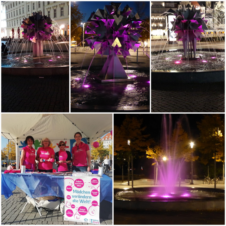 """Am Welt-Mädchentag konnte man von 19 bis 22 Uhr den Richard-Wagner-Platz so erleben. """"Pink für die Rechte der Mädchen"""" – wir haben ein Zeichen gesetzt."""